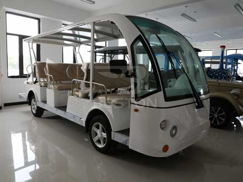 14 Seat White Electric Bus